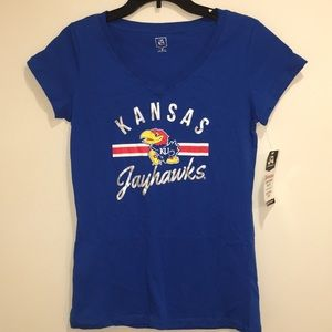 Kansas Jayhawks Essential Stripe Tee NWT M
